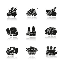 Grocery store products categories drop shadow black icons set. Vegetables, fruit, berries, meat, dairy and grain products, confectionery, seafood, spices. Isolated vector illustrations