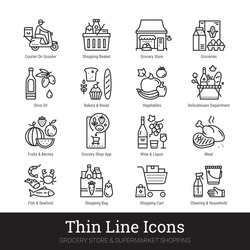 Grocery store, supermarket departments, online shopping, delivery thin line icons for web, mobile app. Editable stroke. Shop vector set include icons: groceries, shop basket, courier, meat, deli, veg.