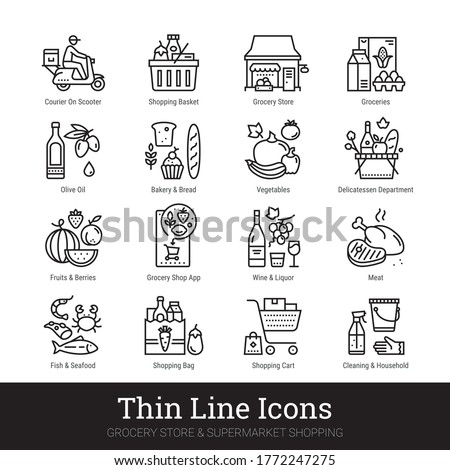 Grocery store, supermarket departments, online shopping, delivery thin line icons for web, mobile app. Editable stroke. Shop vector set include icons: groceries, shop basket, courier, meat, deli, veg. Stok fotoğraf ©
