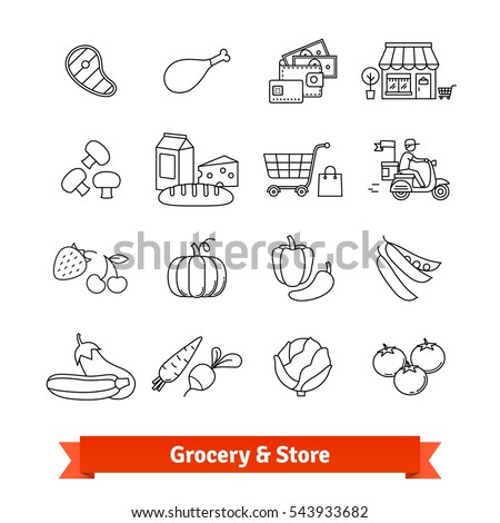 grocery store thin line art