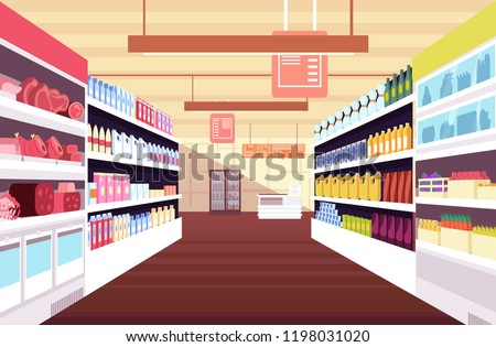 Grocery supermarket interior with full product shelves. Retail and consumerism vector concept. Illustration of supermarket and shop, grocery interior