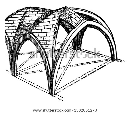 Groined Vault with Zigzag Ridge-Joints, as a double barrel vault, cross vault,  at right angles of two barrel vaults, the edge between the intersecting vaults, vintage line drawing or engraving
