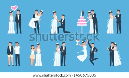 Groom and bride. Cartoon wedding couple in different scenes, preparing and celebrating. Vector illustration happy dancing kissing and hugging newly married couple