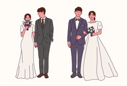 Groom and bride characters collection in wedding dresses. hand drawn style vector design illustrations.