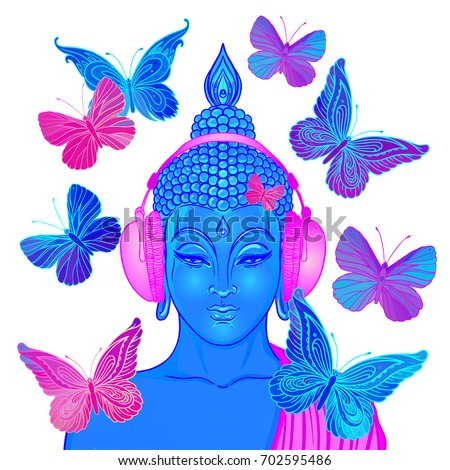 Groove. Modern Buddha listening to the music in headphones surrounded by butterflies isolated on white. Vector illustration. Acid psychedelic concept. Buddhism, trance music. Tattoo, yoga, spiritual.