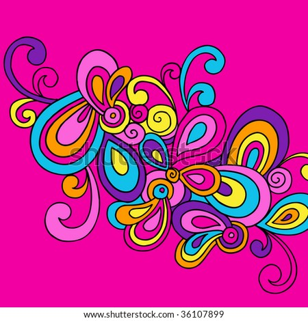 Groovy Hand-Drawn Psychedelic Abstract Doodle Vector Illustration