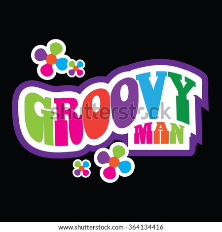 Groovy Man retro type design. EPS 10 vector
