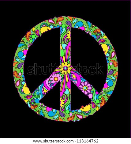 stock vector : Groovy retro peace sign, eps10 vector