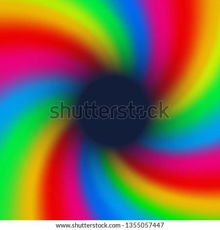 Groovy spiral, rainbow burst background, sun or star rays in pop art style, 80 s style banner design