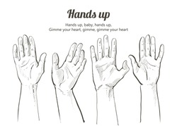 Grope of people men and women raising reaching hands up.  Isolated, line illustration on white background.