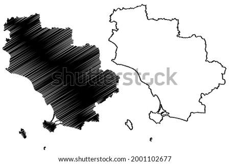 Grosseto province (Italy, Italian Republic, Tuscany or Toscana region) map vector illustration, scribble sketch Province of Grosseto map ストックフォト ©