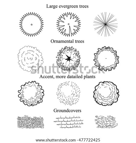 Ground covers and Trees set top view plan. Architectural symbols for landscape design and projects. vector illustration of 12 black plant objects.line  sketch on white background
