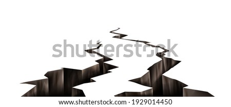 Ground cracks, earthquake cracking holes, ruined land surface crushed texture. Destruction, split, damage fissure effect after disaster isolated on white background. Realistic 3d vector illustration Photo stock ©