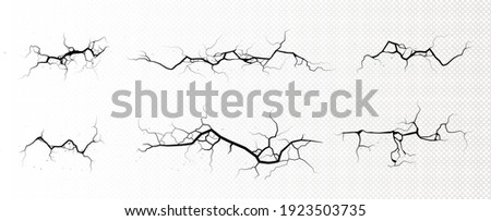 Ground cracks, horizontal breaks on land surface isolated on transparent background. Vector realistic set of fissure in ground, crevices from disaster or drought, black fractures top view