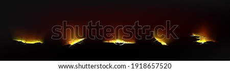 Ground cracks with gold light inside, breaks on land surface isolated on black background. Vector realistic set of fissure in ground with magic golden glow, glowing fractures and crevices Photo stock ©