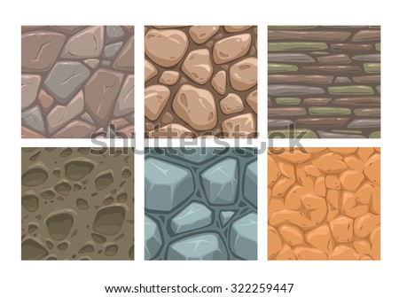 Ground seamless patterns set, vector stone textures collection