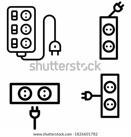 grounded power outlets symbol. white socket. electric outlet icon on white background. U.S. electric household outlet. Photo stock ©