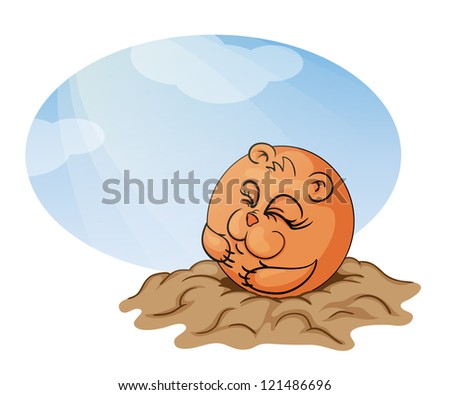 Groundhog Day. Marmot peeks out from his burrow on the sun's rays. Vector illustration.