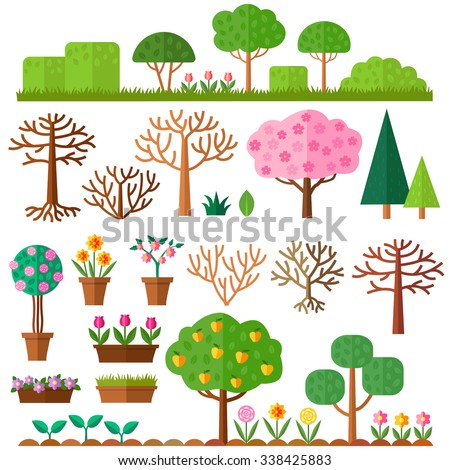 Grounds, Soil and Grass. Blooming plant in flower pot. Tree without leaves on white background. Set of flat trees. Vector illustration.