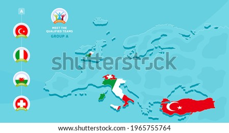 Group A European 2020 football championship Vector illustration with a map of Europe and highlighted countries flag that qualified to final stage and logo sign on blue background. euro 2020