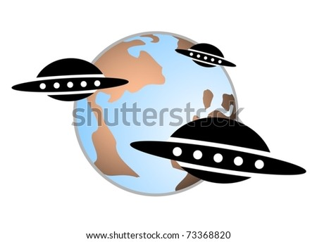 Group alien spacecraft approaching the planet earth