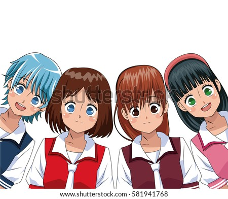 group anime girl manga