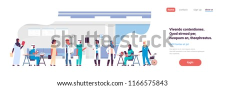 group arabic doctors hospital communication making scientific experiments diverse medical workers modern clinic interior flat copy space banner vector illustration