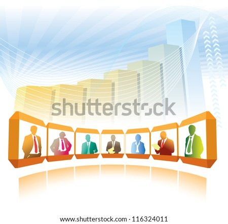 Group businesspeople having teleconference, a large chart in the background