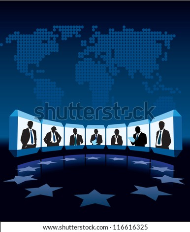 Group businesspeople having video-conference, a large world map in the background