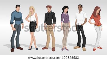 Group cartoon business people. Teenagers.