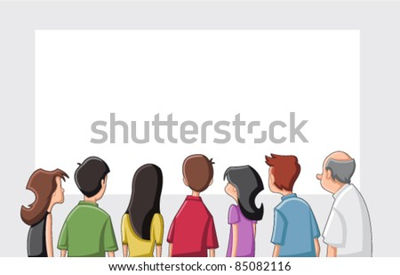 Group cartoon people looking / staring white screen - stock vector