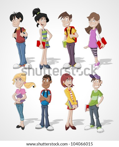 Group cartoon teenager students
