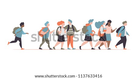 Group character elementary school pupils go to school isolated
