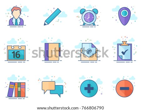 Group collaboration icon series in flat color style. Vector illustration.