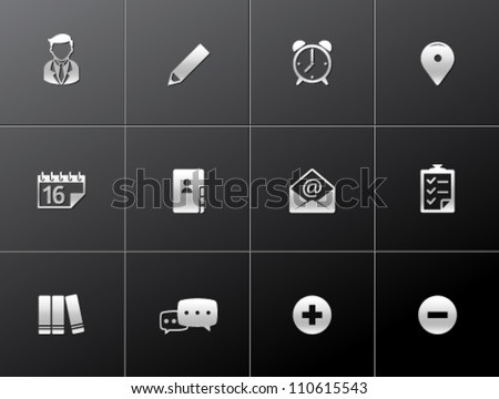 Group collaboration icon series in metallic style