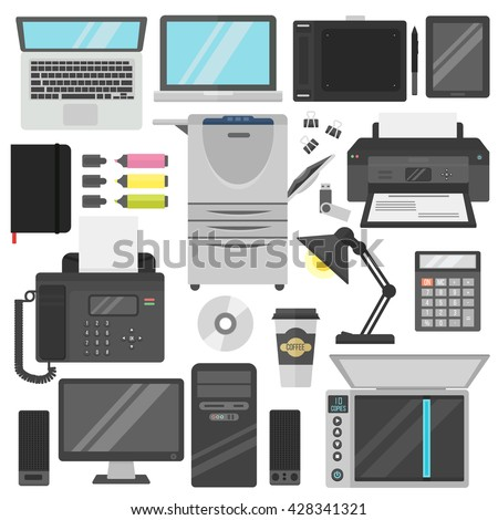 Group computer office equipment. Laptop, monitor, tablet pc, smartphone, printer keyboard, photo camera, mouse. Office electronics digital vector