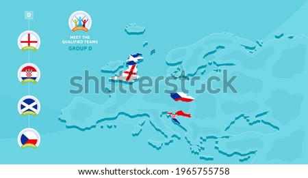 Group D European 2020 football championship Vector illustration with a map of Europe and highlighted countries flag that qualified to final stage and logo sign on blue background. euro 2020