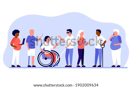 Group diverse of people with disabilities work together in office. Disabled different people stand in raw and communicate with mobile phone, laptop. Handicapped persons work. Vector illustration Photo stock ©