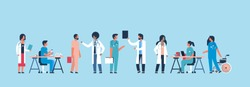 group doctors hospital communication making scientific experiments diverse medical workers blue background flat banner vector illustration