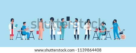 group doctors hospital communication making scientific experiments diverse medical workers blue background flat banner vector illustration #1139864408