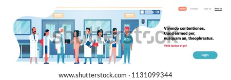 Group doctors hospital corridor diverse medical workers modern clinic banner copy space flat full length vector illustration