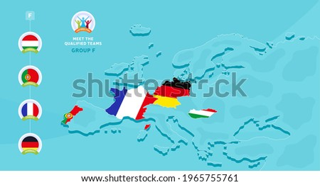 Group F European 2020 football championship Vector illustration with a map of Europe and highlighted countries flag that qualified to final stage and logo sign on blue background. euro 2020