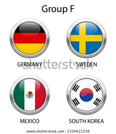Group F. Shiny metallic icons buttons with national flags isolated on white background.