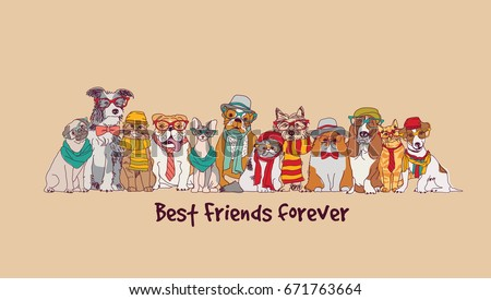 group fashion best friends pets