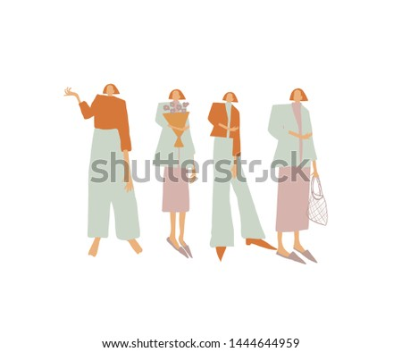 Group girls or woman dressed in trendy clothes in pastel colors. Modern flat icon design. People in casual hipster style. Female cartoon characters. Girl power concept.