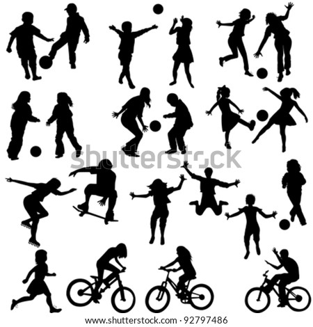 Vector Images Illustrations And Cliparts Group Of Active Children