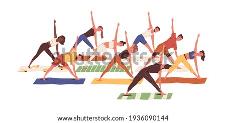 Group of active people exercising together. Scene with men and women standing in asana during yoga fitness class with coach or teacher. Colored flat vector illustration isolated on white background