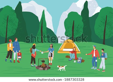 Group of active people spending time at camping in forest vector flat illustration. Backpackers and hikers relaxing near tent and campfire. Tourists enjoying outdoor recreation and summer landscape