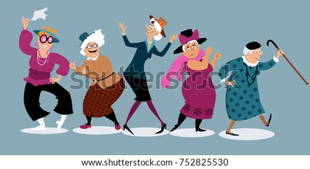 group of active senior women