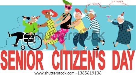 Group of active seniors celebrate Senior Citizen's Day, EPS 8 vector illustration